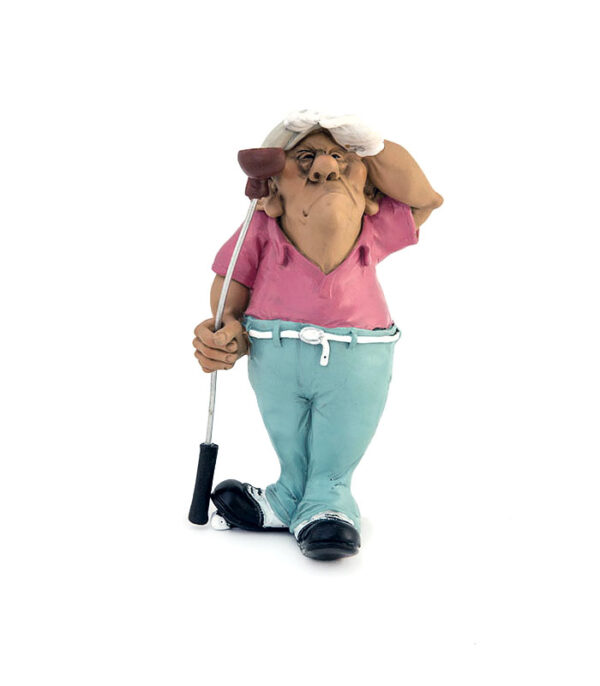 Sjov golfspiller karikaturfigur af kunstneren Warren Stratford.
