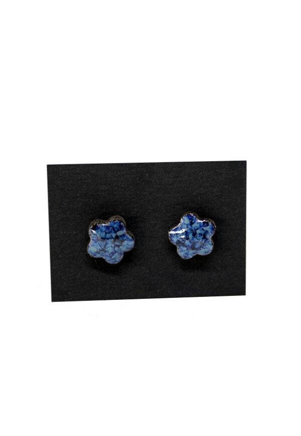 blå keramikøreringe, øreringe keramik, keramiske øreringe, øreringe blå, round earings, ceramic earings