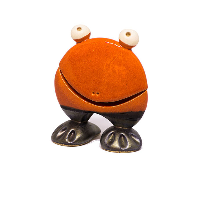 frø keramik, frøfigur, frø figur, frø i ler, frog figurina, frog clay, frog ceramic, frog figure, orange frog,