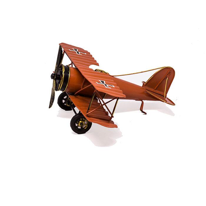 red metal plane, rødt tin metalfly, vintage plane model, retro airplane model