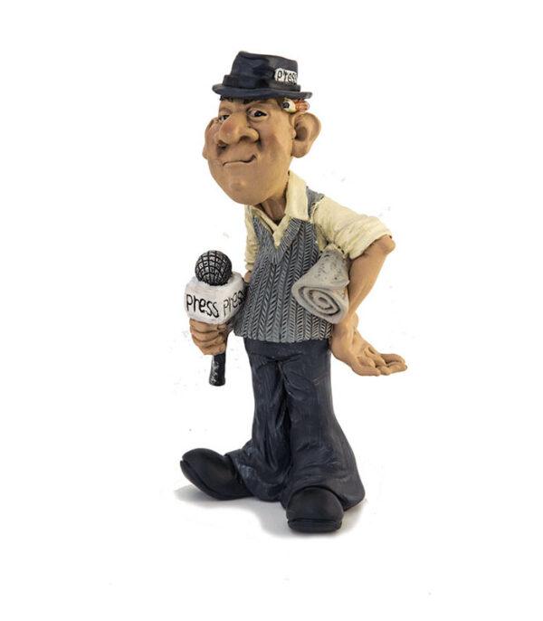 journalist figur, nyhedsreporter figur, journalisthøjskole, journalist eksamensgave, news reporter funny figurina, warren stratford