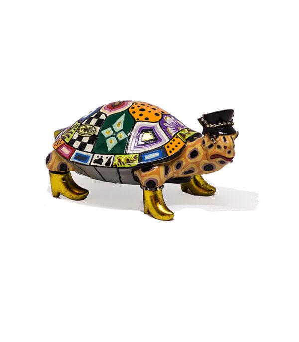 skildpadde, sjov figur, skildpadde i farver, figur med farver, drag queen, gave drag, turtle figure, home decoration, brugskunst, figur brugskunst