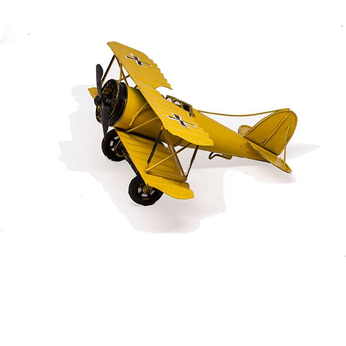 yellow tin metal airplane, gult dekorativt tin metalfly