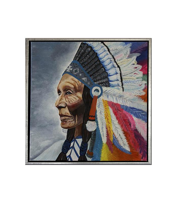 Indianer høvding i farver print på canvas