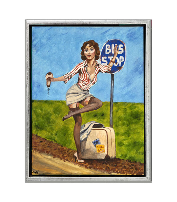 pin-up pige vedbusstop, pin-up pige ved busskilt, pin-up pige i ramme- pinup pige, retro pin-up pige