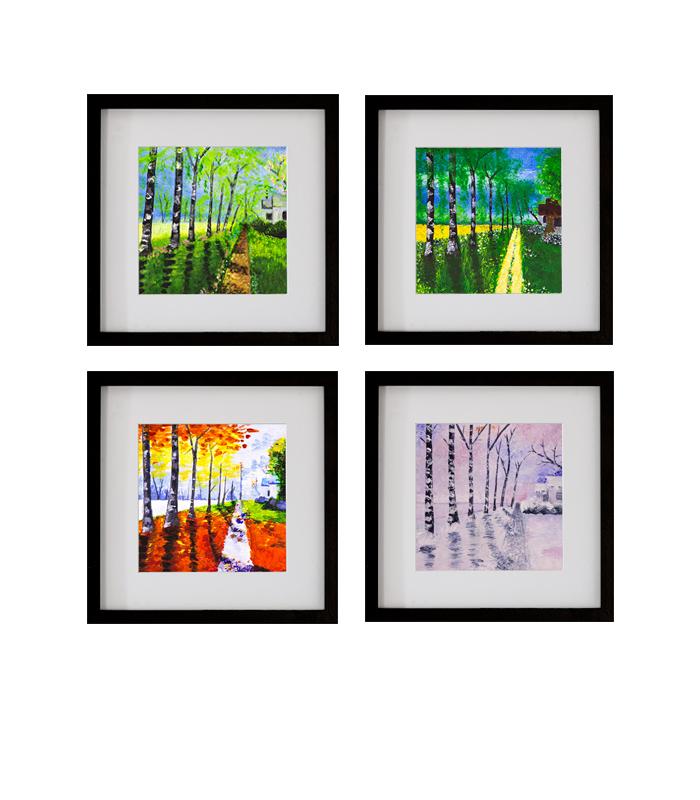 Svært De fire årstider i farver - Fire signerede kunsttryk i ramme 20x20 YH-01