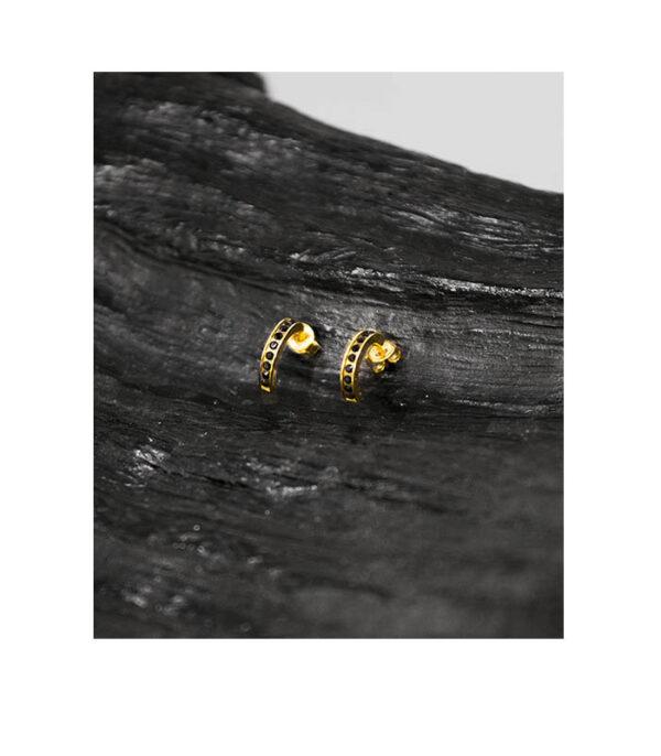 Halvcreoler guldbelagte med ørestikkere, halvcreoler, halvcreoler øreinge, guldbelagte halvcreoler, guldbelagte øreringe,
