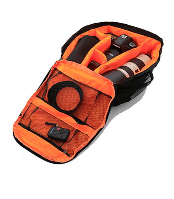 kamerataske, lille kamerarygsæk, kamerataske med orange, fototaske, photo bag, photo rucksac, fototaske, fotorygsæk, lille fototaske, lille fotorygsæk, small photobag