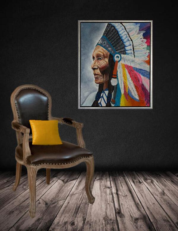 print på lærred, indianer i farver, indianer foto, billede med indianer, vægbillede indianer, vægfoto indianer, indianer i ramme til væg,
