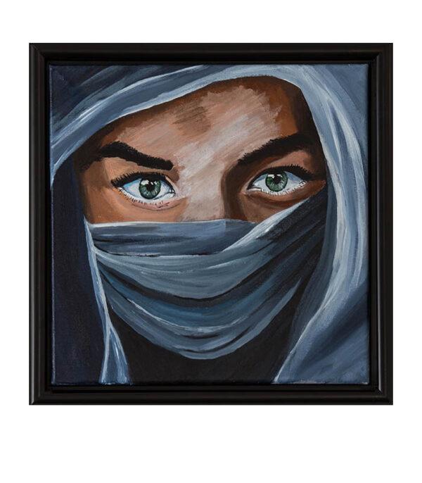 mellemøsten, kvinde med slør, kvinde med hijab, islamisk kvinde, kvinde fra mellemøsten, feminin kvinde, billede af kvinde, maleri kvinde, plakat kvinde, reproduktion kvinde med slør, reprint woman, woman with hijab, woman from middle east, woman in blue, firkantet billede med kvinde,, Islamisk kvinde med slør, muslimsk kvinde med slør