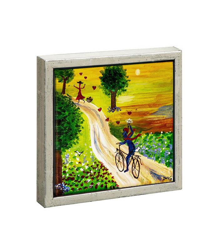 Mand på cykel som frier print på kanvas