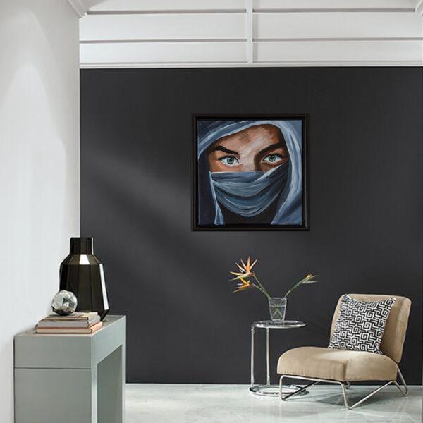 woman in blue, print on canvas, vægbillede til stuen, vægbillede til entreen, vægbillede til soveværelset, gave til kvinde, billede til kvinde, billede til stue, unikt billede, unikt maleri, kunstværk, billedkunst, home decoration, billede til boligen, maleri til boligen, billede af kvinde i hijab, picture of woman in hijab