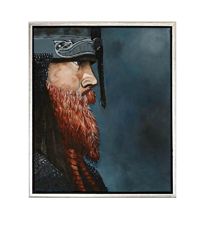 Sej viking - reproduktion af maleri som print på canvas, blå viking, vikingbillede, billede af viking, vikingfoto, foto viking, billede viking, vægbillede viking, framed viking, viking photo, viking on canvas, viking wall picture, poster viking, viking painting, viking malieri