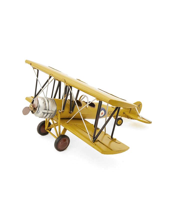Retro modelfly Avro 621 Tutor biplane 1931. Flot julegave eller gaveide til samler, den voksne drengerøv, pilot eller stor teenager. Kvalitetsfly i metal til dekoration.