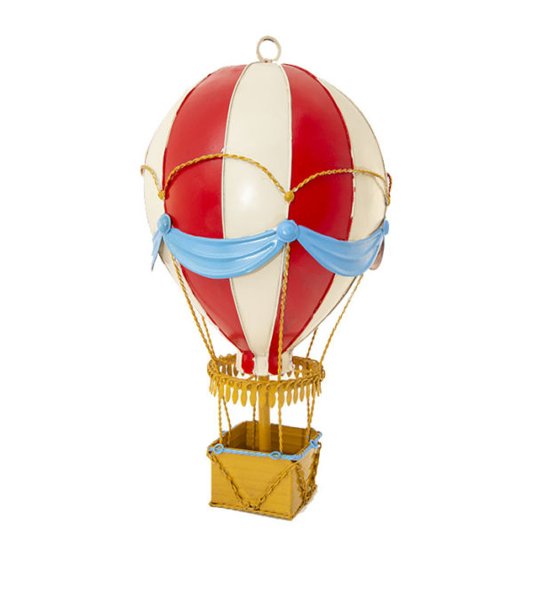 red & white vintage hot air balloon as hanging decoration