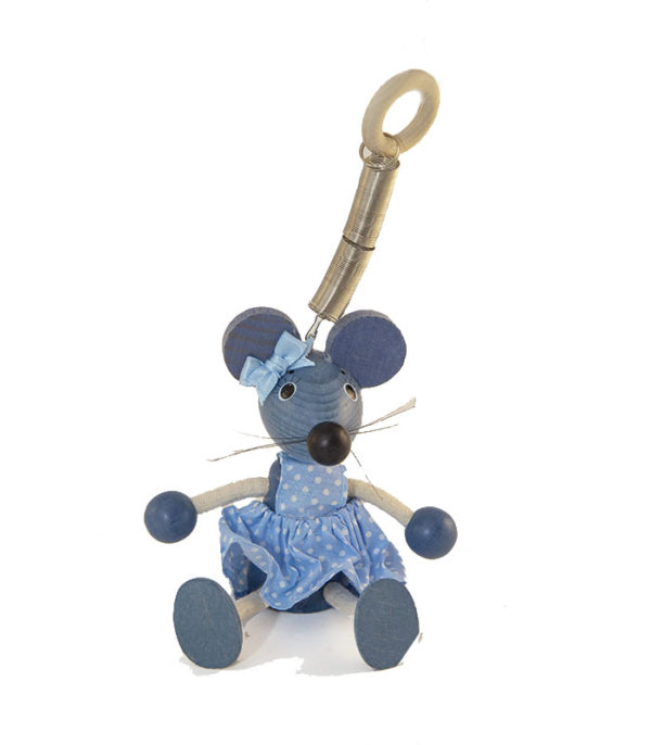 Blue wooden toy mouse for home decoration