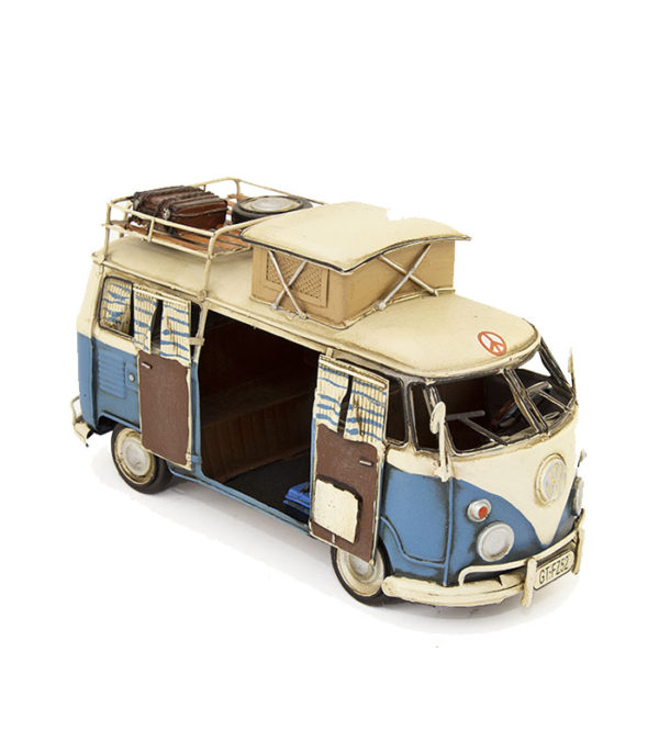 decorative retro vw camper van with open doors,