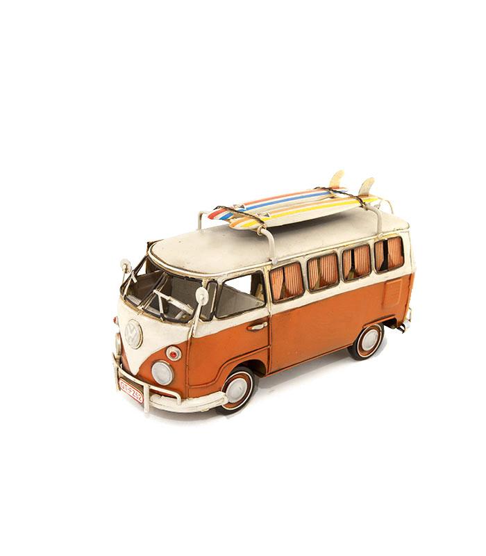 Retro surfer VW campingbus metal dekoration, Retro surfer dudes minbus, retro design minibus orange style with surf boards on the roof, hipster surf van,