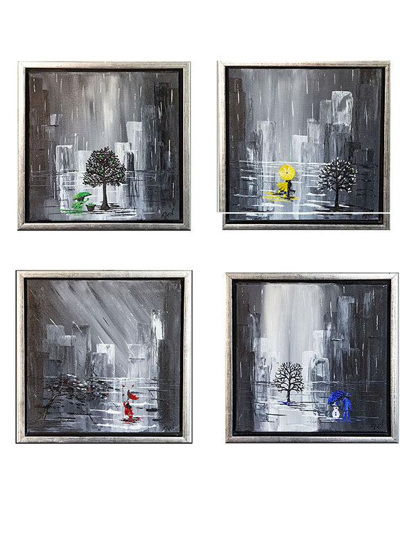 de fire årstider kunsttryk, de fire årstider, the four seasons with rain, billeder de fire årstider, malerier de fire årstider, billeder regnvejr, malerier regnvejr, 40x40 billeder, blå nuancer billeder, plakat de fire årstider,