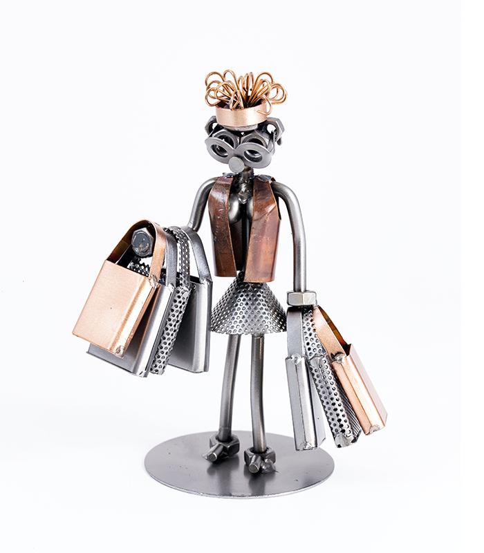 shopaholic, metalfigur, juleindkøb, lulegaver, juleshopping, julegave kvinde, julegave pige, julegave teenagepige,