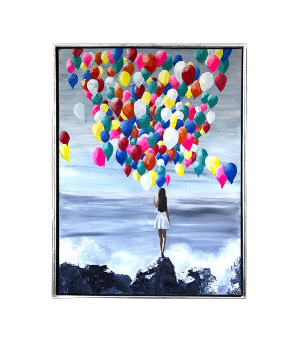 colourfull dreams som print, pigen på troppen, maleri af pige med balloner, billede af pige med balloner, plakat pige med balloner, vægbillede med farver