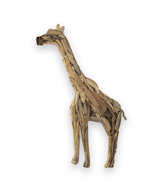håndlavet giraf af drivtømmer til vægmontering