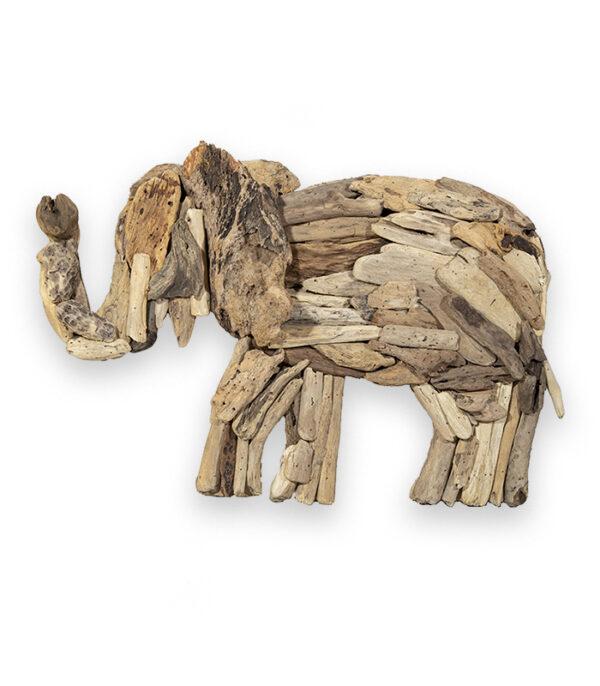 Elefant i drivtømmer træ som vægdekoration