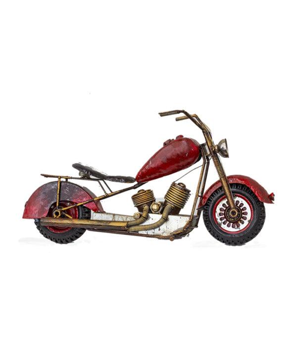 rød retro deko motorcykel, interiør cafe, design bar ideer , boligindretning ideer, design bar ideer, cafe indretnig ideer, drengerøven gave,gaveide mc ejer, gave mc entusiast, rusten motorcykel model 70 cm, miniharley cafe urban deko