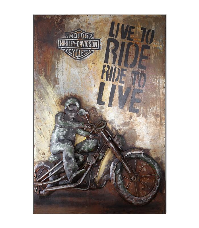 harley davidson metalbillede i genbrugsmetal live to ride