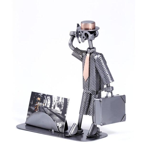 forretningsmand metalfigur visitkortholder, forretningsmand karikatur figur