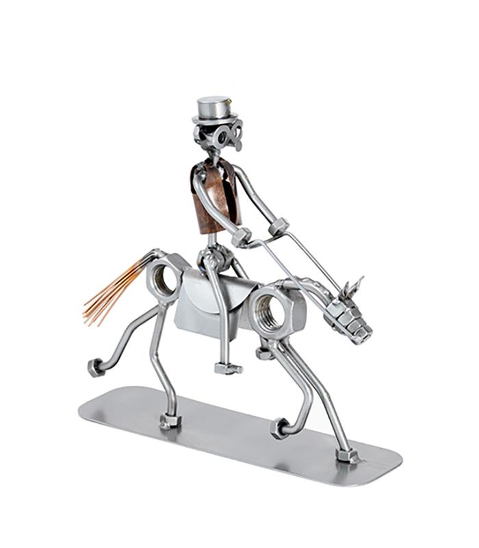 rytter på hest, mand på hest metalfigur, mand dressurrytter figur, rideskole metalfigur