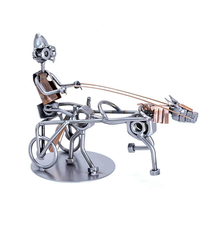 Jockey på væddeløbshest metalfigur af restmetal , hestevæddeløb metalfigur, gave jockey