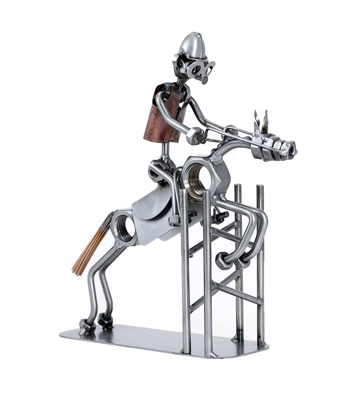 Springrytter på hest metalfigur, ridespring metalfigur, springbane