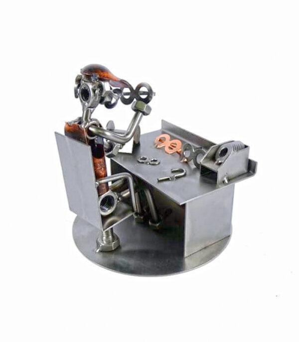 optiker metalfigur som gave til optiker, optiker uddannelsesgave, optiker svendegave