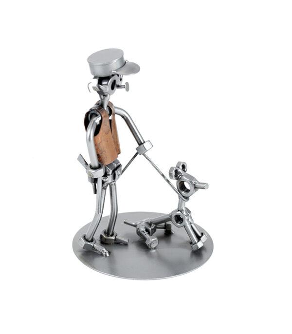 Sikkerhedsvagt med hund eller hundefører metalfigur