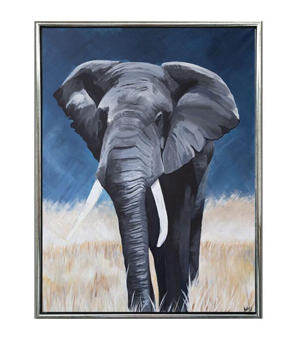 Elefant på savanne som reproduktion til boligen