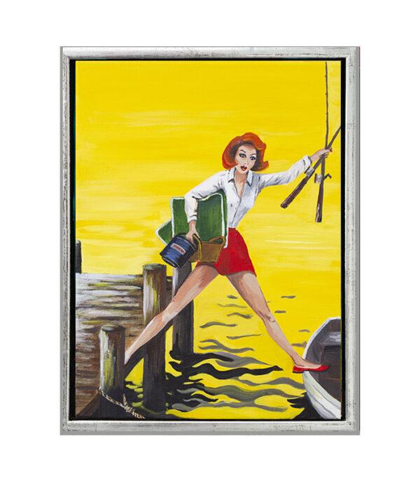 retro pin-up pige på fisketur