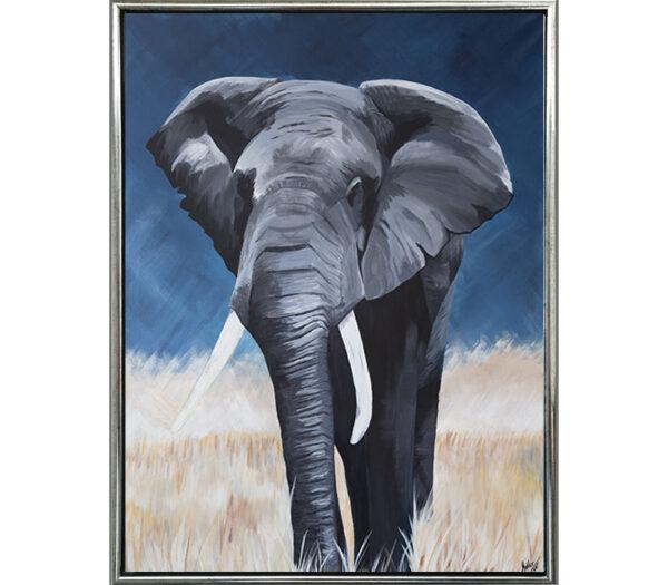 Elefant på savanne som reproduktion