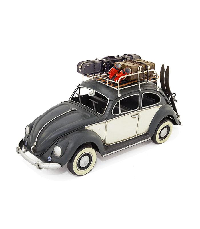vw folkevogn bobbel med ski, vw volkswagen deko car, vw bubble deko car for retro car entusiast or as retro home decoration