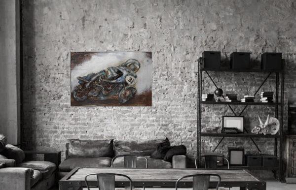 3D rustikt racing motorcycle metal_