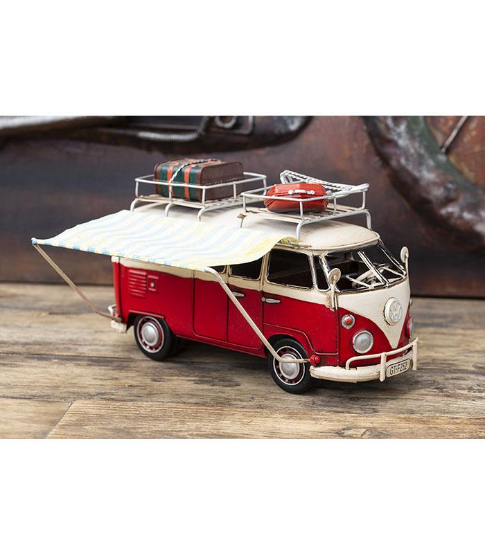 Retro 1966 VW campingbus, red deco vw camper for home decoration.