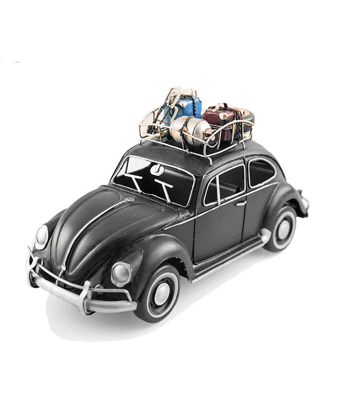 retro vw folkevogn bobbel i sort med tagbagage, samleobjekt og dekoration, vw beetle retro model