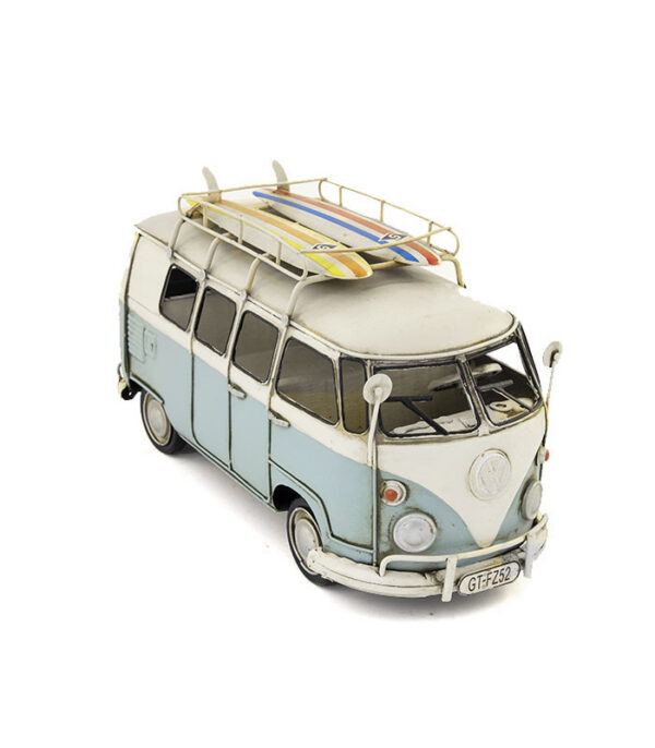 vw camper light blue retro deko car metal style with surf boards on the roof