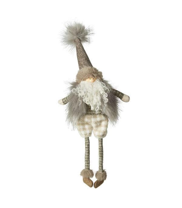 Stof kvalitets hænge julemand 38 cm i pels