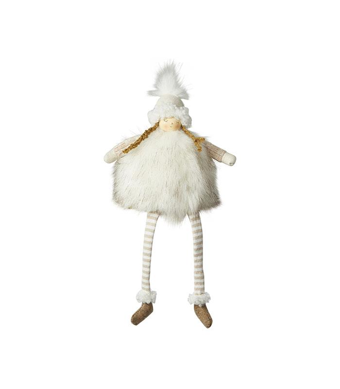 Stof kvalitets julepige med fletninger 29 cm