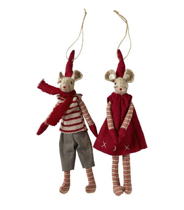 Hænge magnet jule mus par af stof 20 cm