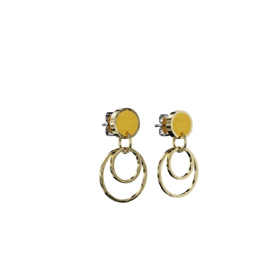 Gule øreringe i træ med guldringe. Laser afskårne håndmalede ørestikker med guldcirkler.