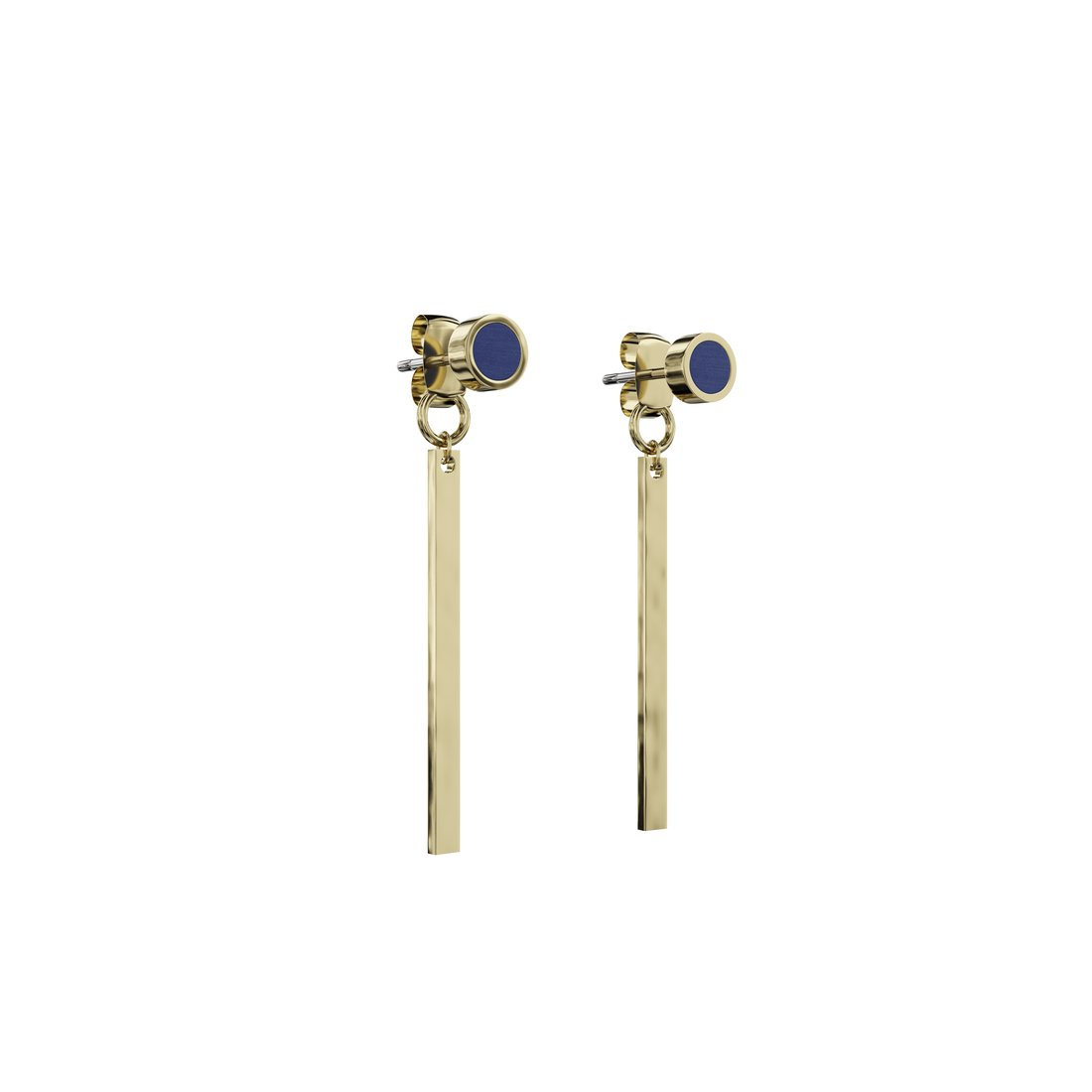 Øreringe kongeblå i guld og træ med guldstang