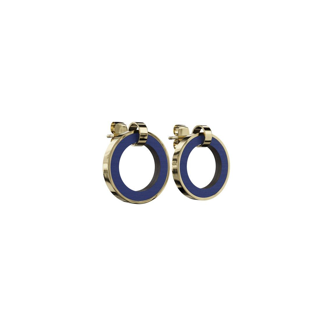 Øreringe udformet som træcirkler i blåt træ og guld