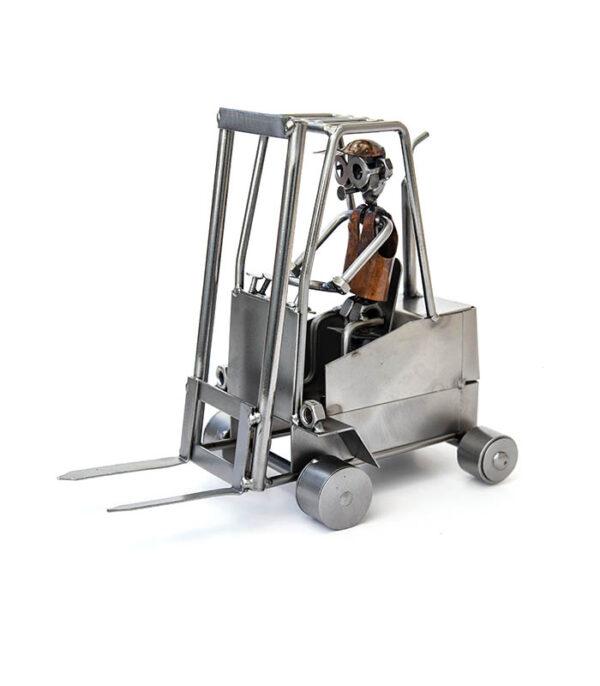 truckfører på gaffeltruck metalfigur, lagerarbejder